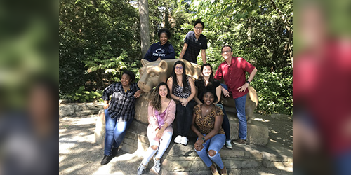 Terry Torres-Cruz, a de la Torre Scholar in Penn State's College of Agricultural Sciences, second from left in the middle row, poses at the Nittany Lion Shrine with other students from David Geiser's lab in the Department of Plant Pathology and Environmental Microbiology. From left, back row, are Benedicta Swalarsk-Parry and Shawn Chang. In the middle row are Jane Ramaswe, Torres Cruz, Emma Wallace and David Geiser. In front are Daniela Chacon, who, like Torres-Cruz, is from Costa Rica, and Chyanna McGee.  IMAGE: PENN STATE
