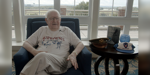 World War II veteran and Penn State alumnus Leon Kneebone, now age 99, talked about his military service during the war and his time at Penn State, first as a student and later as a professor. IMAGE: KALEB COOK, PENN STATE OFFICE OF STRATEGIC COMMUNICATIONS