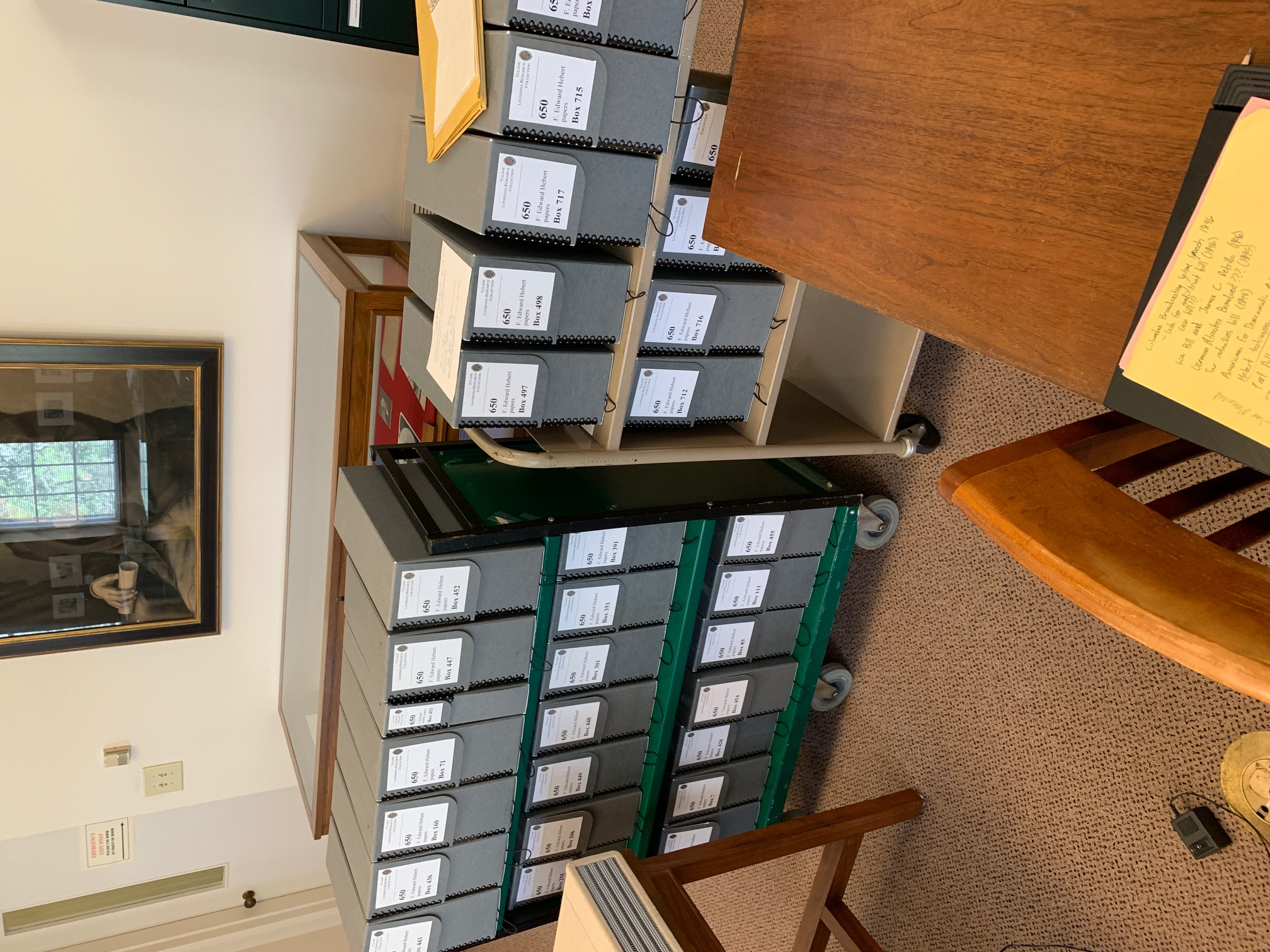 Boxes of research material