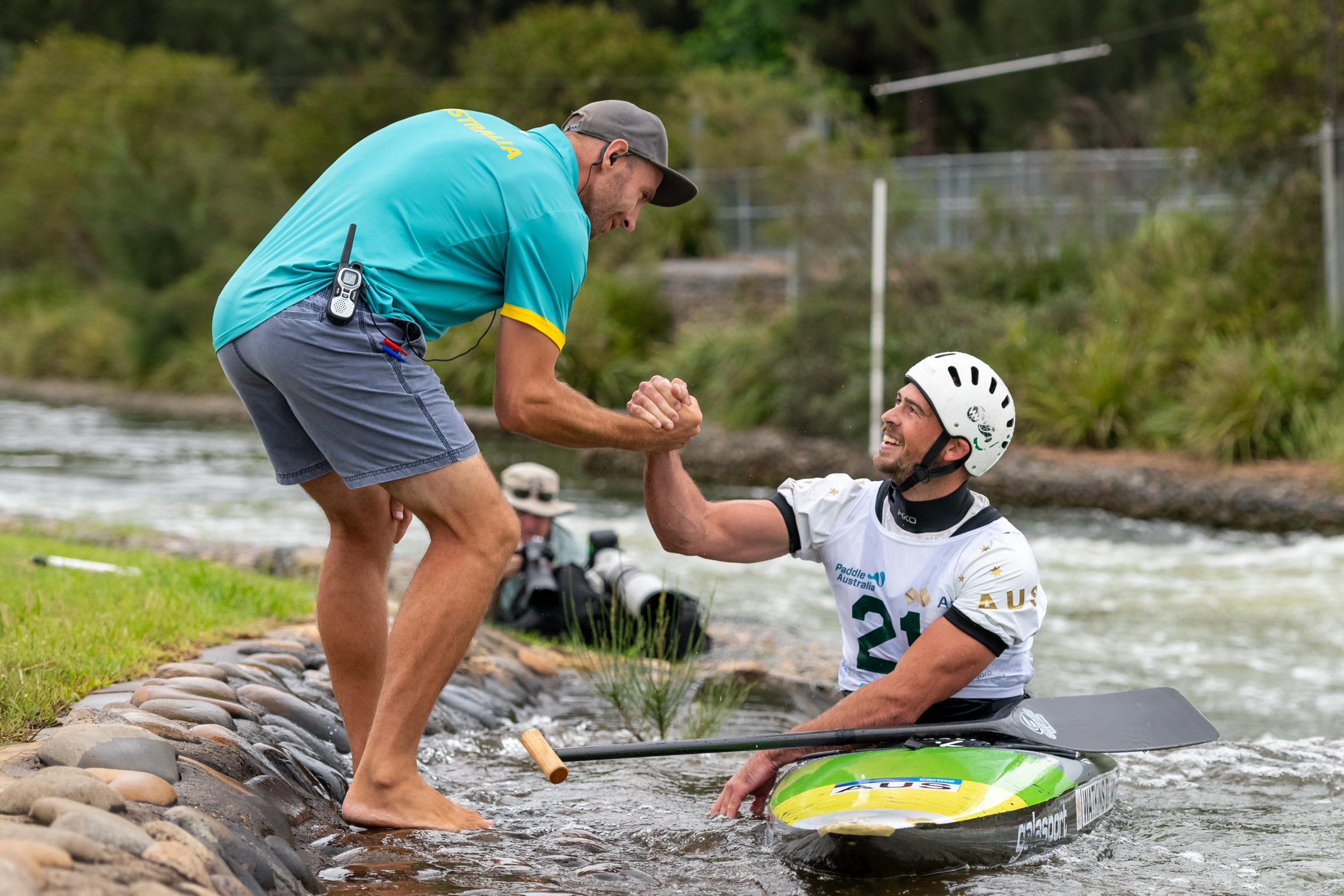 Robin Jeffery (coach + London Olympian) celebrating with Dan Watkins - Photo JGRImages