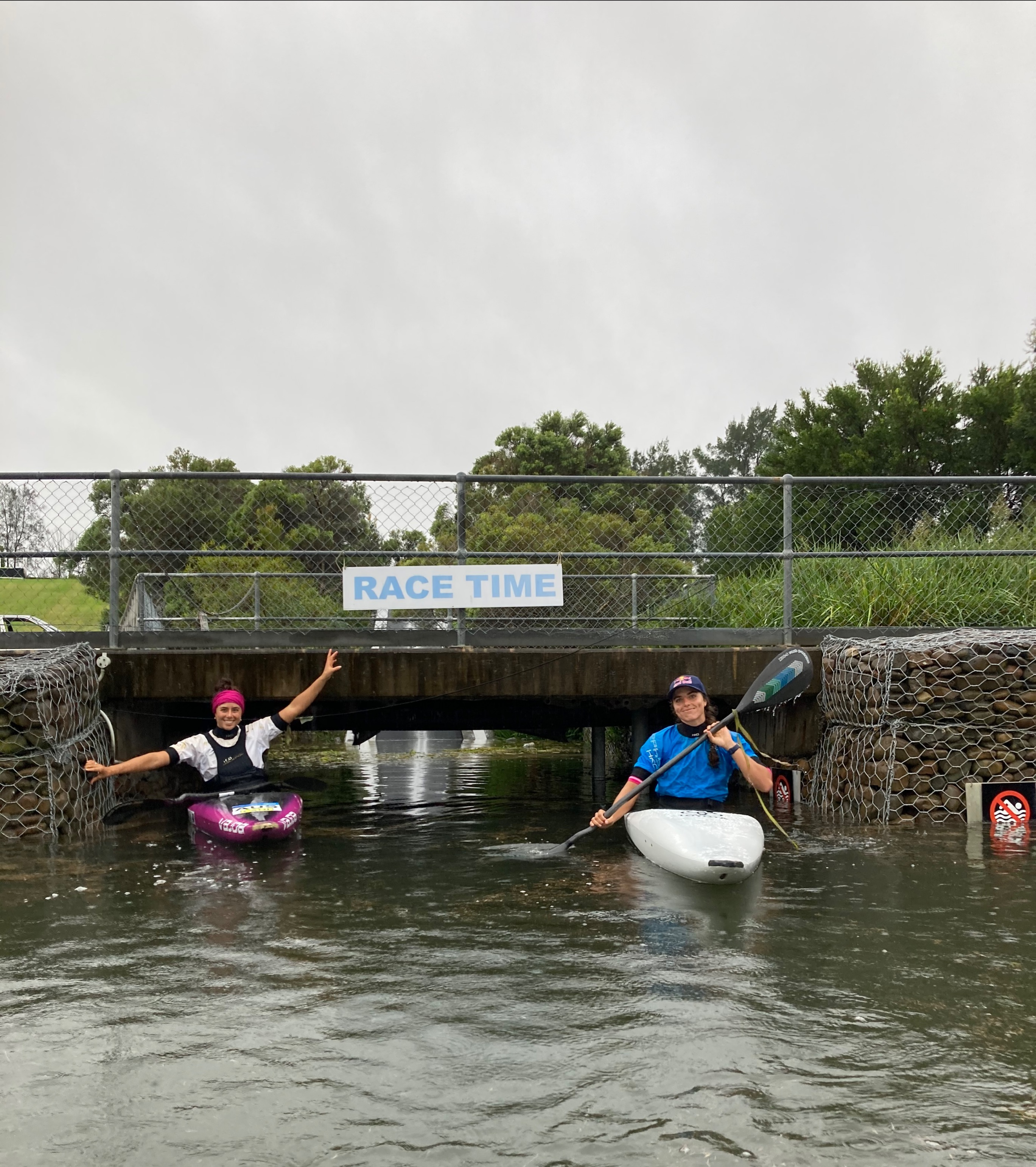 Noemie & Jess Fox at the flooded Whitewater Stadium
