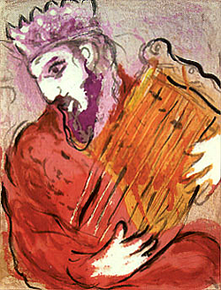 Marc Chagall painting of King David playing harp