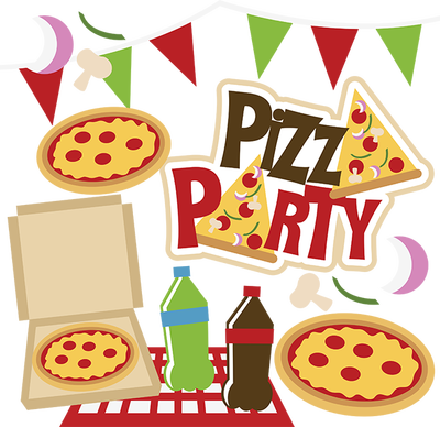 Pizza Party, drawing of pizzas and soft drinks