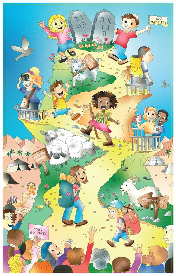 Cartoon of Mount Sinai with 10 Commandments and children