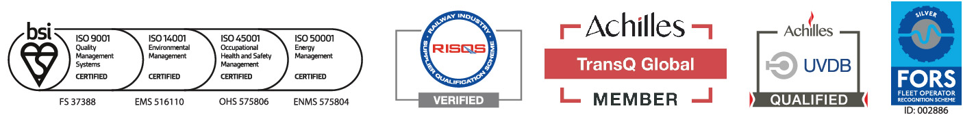 BSI ISO 9001 Quality Management FS 37388, ISO 14001 Environmental Management EMS 516110, OHSAS 18001 Occupational Health & Safety Management OHS 575806, ISO 50001 Energy Management ENMS 575804. RISQS Verified. Achilles TransQ Global Member. UVDB Qualified. FORS Silver. 2020