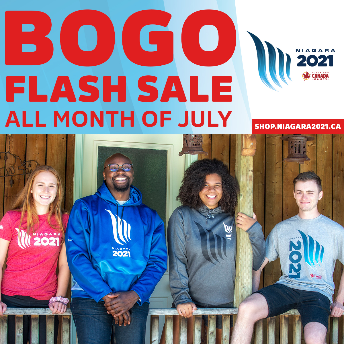 """A diverse group of athletes model Niagara 2021 t-shirts and hoodies. """"BOGO Flash Sale all month of July"""""""