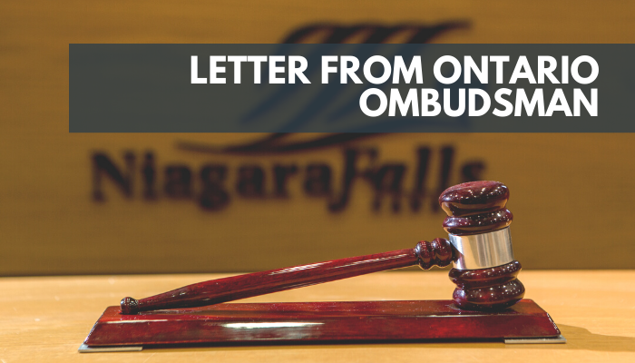Letter from Ontario Ombudsman, Image of a gavel in council chambers