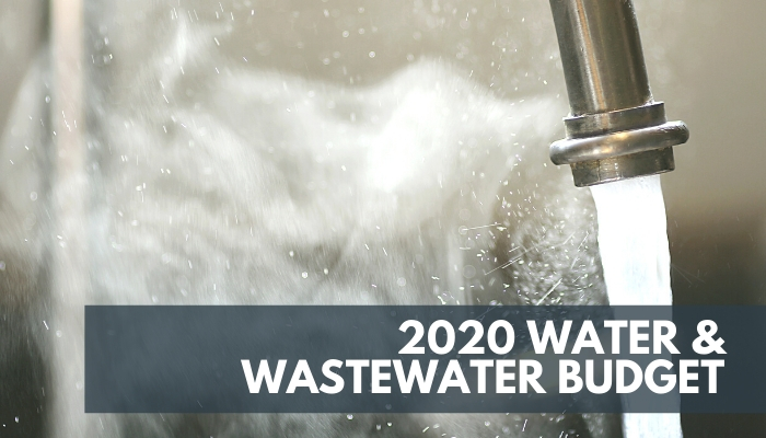 2020 Water and Wastewater Budget, Image of a water faucet with running water