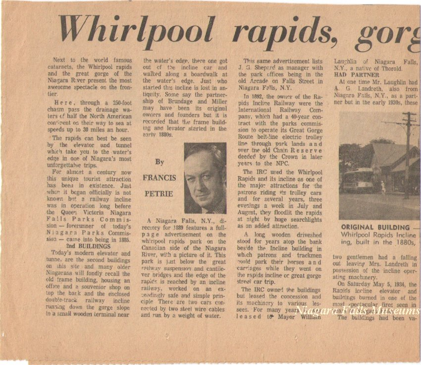 Newspaper clipping of an article on Whirlpool rapids written by Francis Petrie