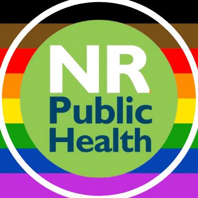 Logo: NR Public Health with a 2+LGBTQ rainbow stripe background