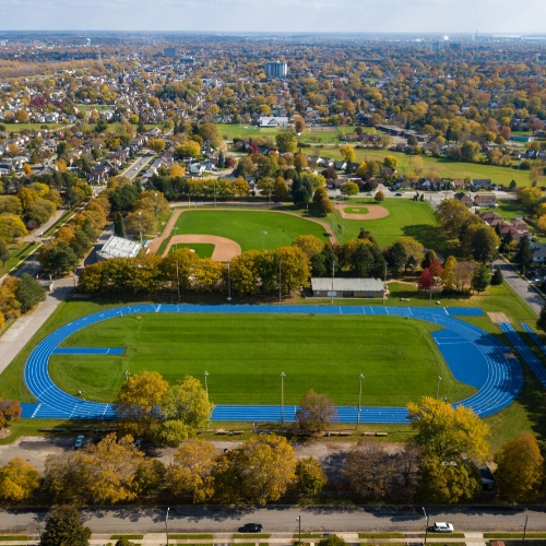 Aerial view of Oakes Park track