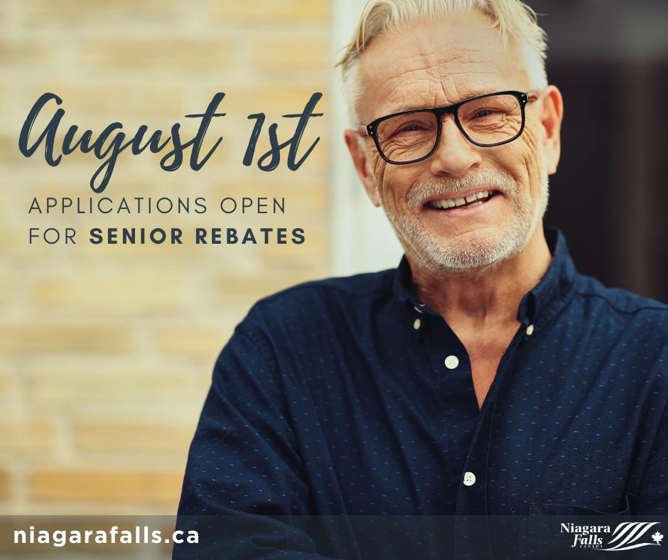 "A happy senior gentleman. ""August 1st applications open for senior rebates."" ""niagarafalls.ca"""