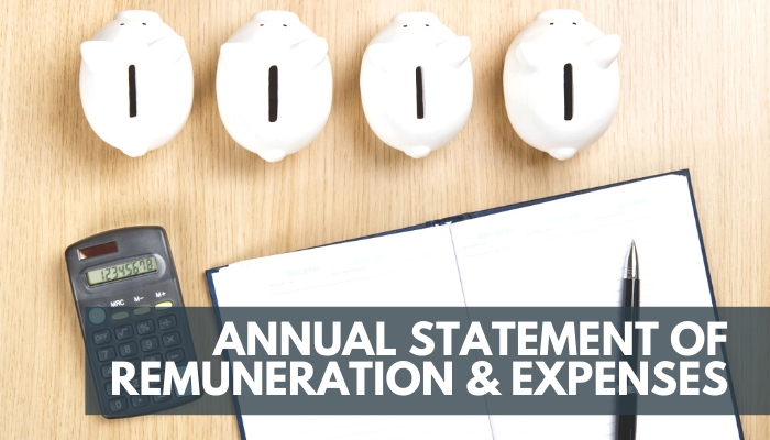 Annual Statement of Remuneration & Expenses, Image of a calculator, pen, notebook and piggy banks