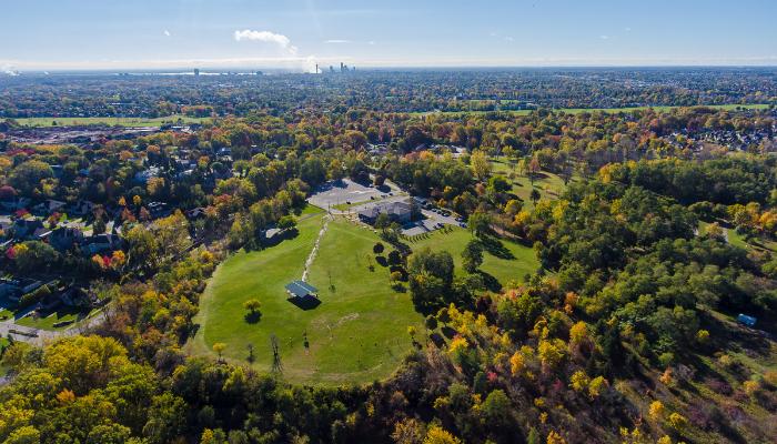 Drone image of Firemen's Park - Niagara Falls