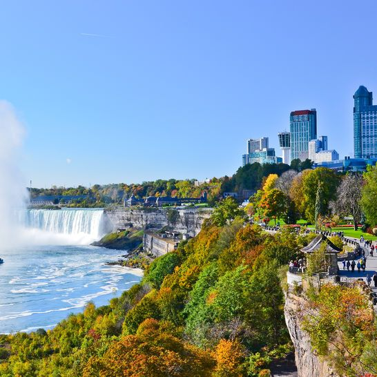 View of Niagara Falls on a sunny day