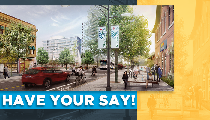 Have your say (text), over a rendering of the proposed GO Station Transit Hub neighbourhood.