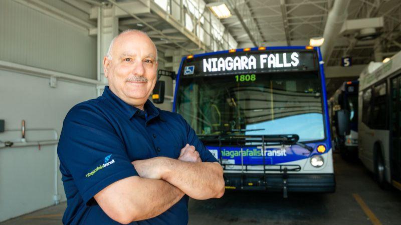 Niagara Falls Transit bus, and driver, Mario