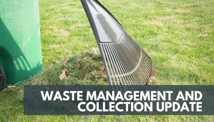 Waste Management Collection Update, image of rake and grass clippings