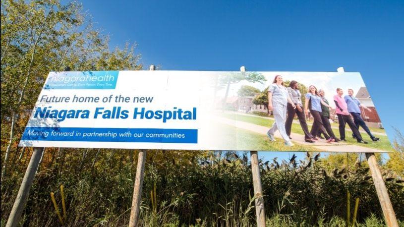 Future home of the new Niagara Falls hospital sign