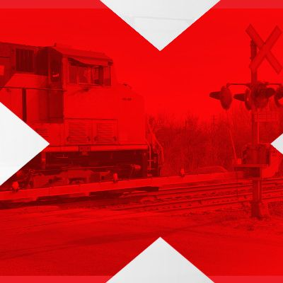 CN train with a cross logo overlay.