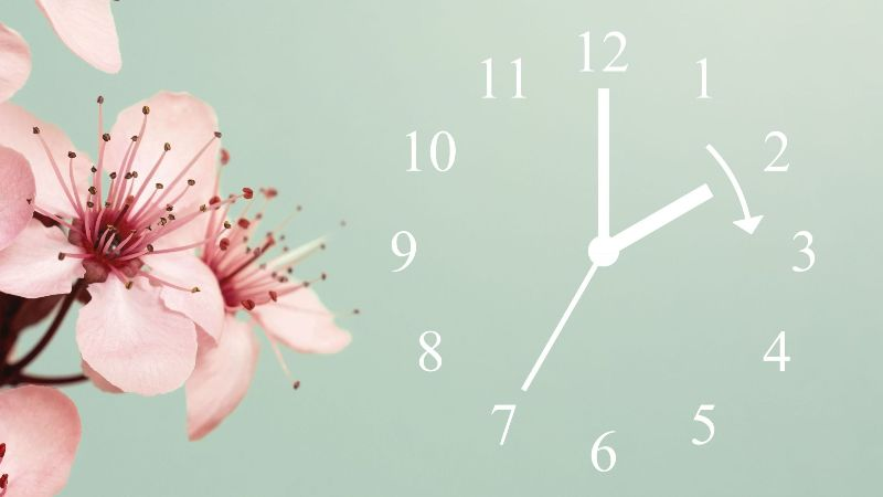 Flowers, clock being sprung forward by 1 hour for daylight savings time