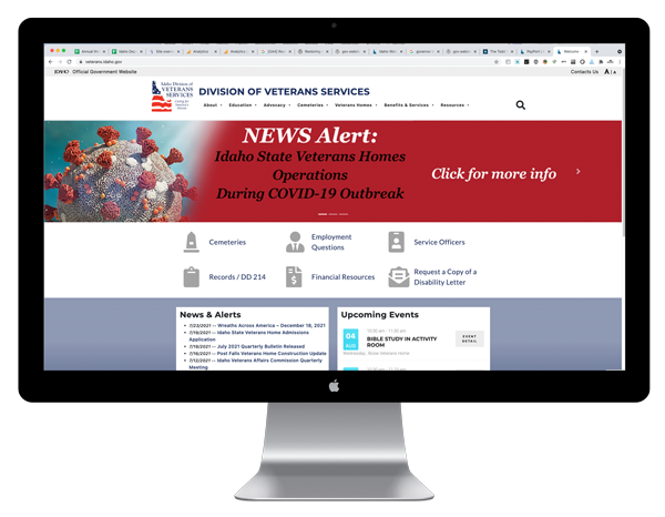 IDVS website on monitor