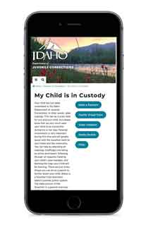 juvenile corrections website on a smart phone