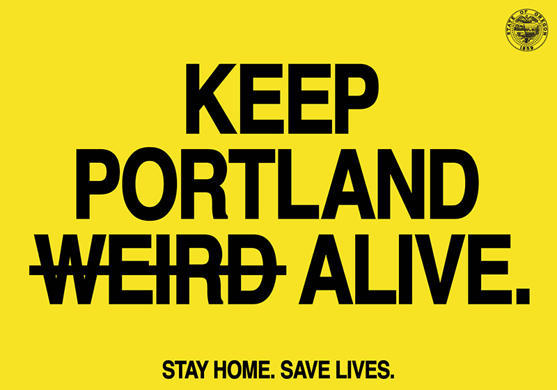 "Yellow background with words in black: ""Keep Portland Alive"""