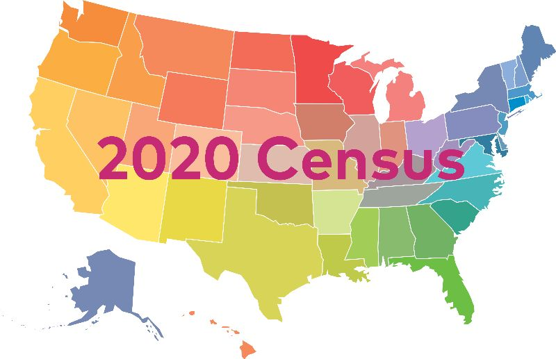 "US Map with the words ""2020 Census"" on top"