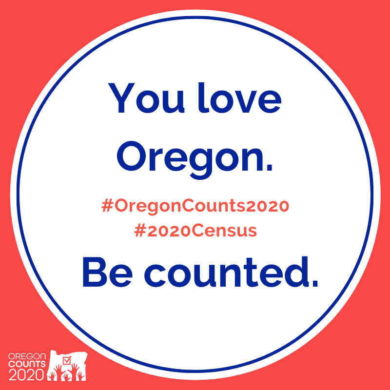 "A circle seal that says: ""You love Oregon. Be Counted."""