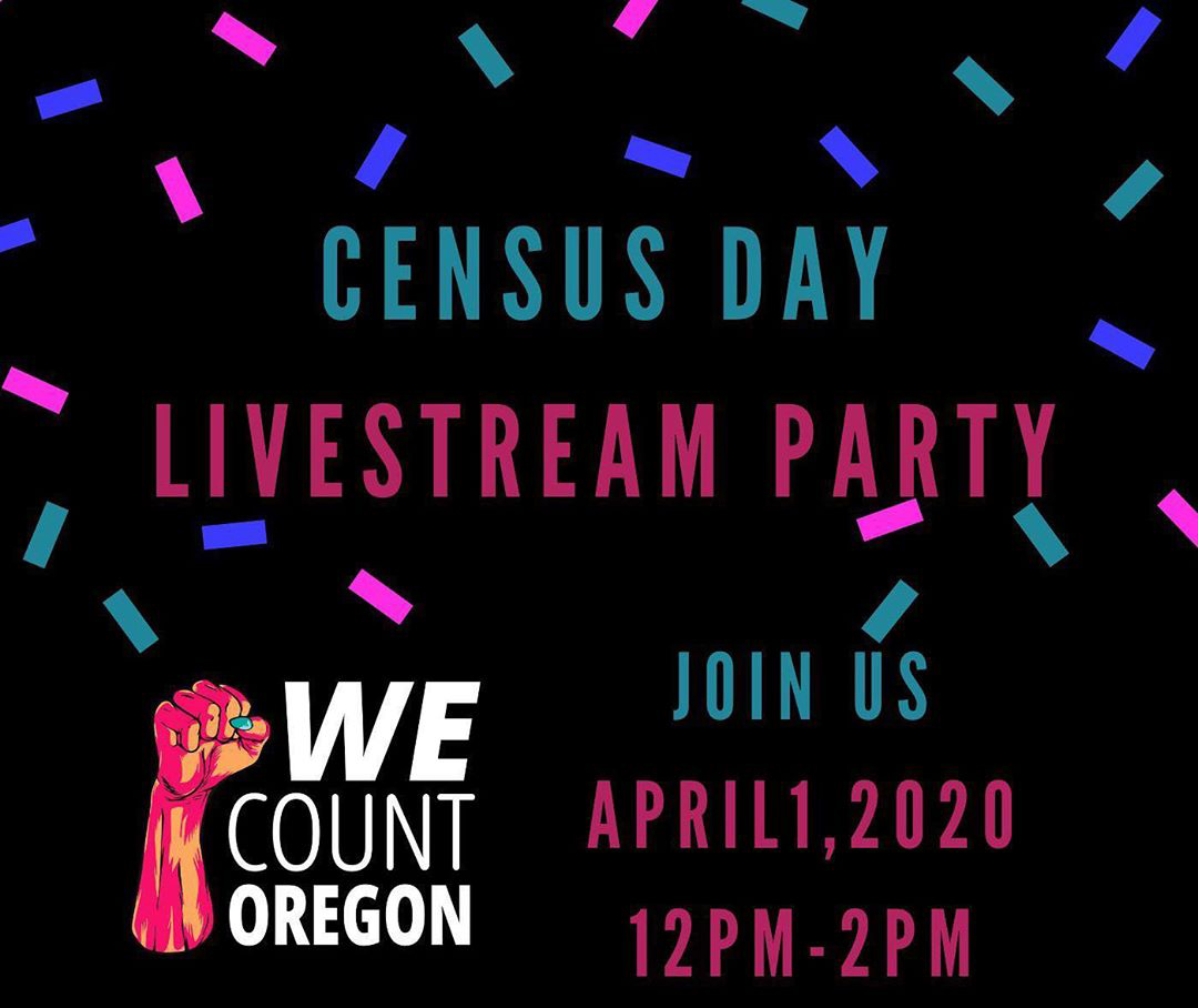 Image with words: Census Lifestream Party, Join Us April 1, 12-2pm