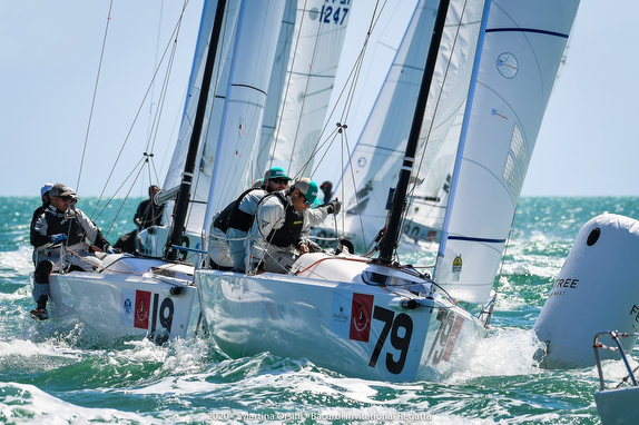 J/70s sailing Bacardi Invitational Regatta off Miami, Florida
