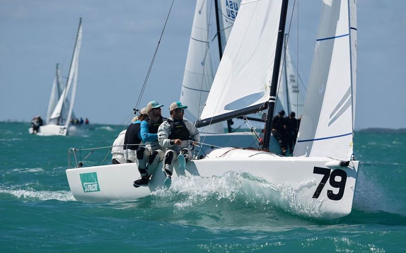 J/70 Surge sailing Midwinters off Miami, Florida