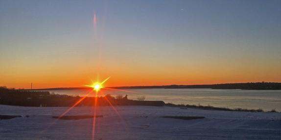winter sunset over Beavertail Point, Jamestown, RI