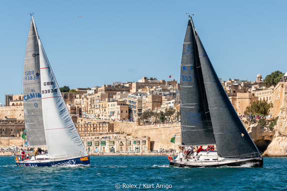 J/109 off starting line of Rolex Middle Sea Race off Malta