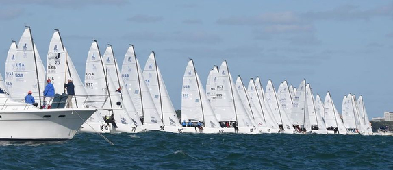 J/70s sailing off start in Miami, Florida