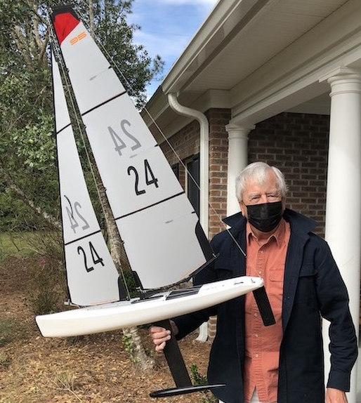 Bob Johnstone with his model sailboat