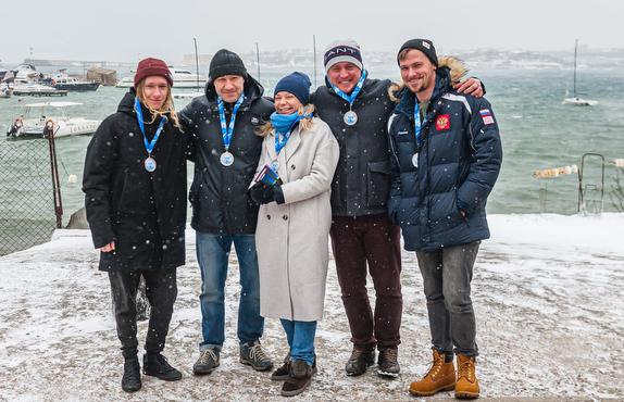 Russian J/70 sailors in winter weather at Sevastopol, Crimea
