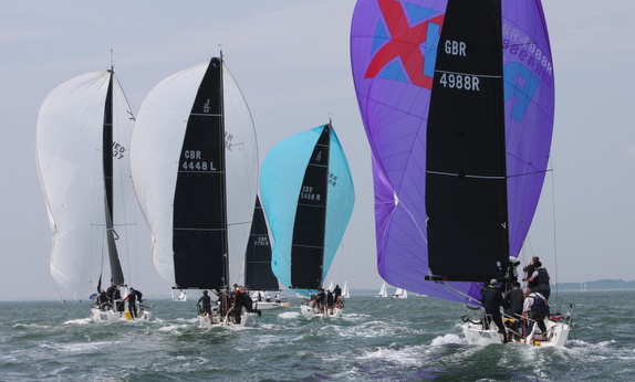 J/88s sailing J/Cup off Cowes, England