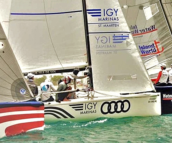 J/70 sailing start off Simpson Bay, St Maarten