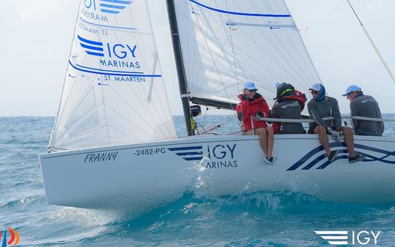 J/70 IGY Marinas sailing off St Maarten island