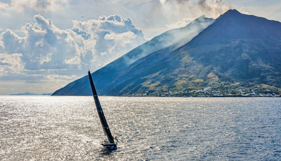 Sailing Straits of Messina off Italy
