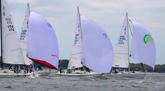 J/105 sailboats sailing offshore