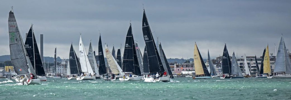 RORC starting line on Solent, England