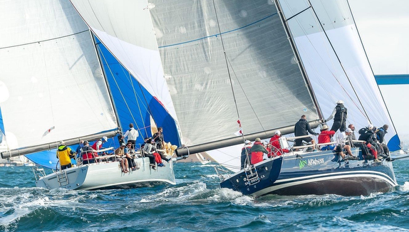 J/145s dueling at San Diego YC Hot Rum Series