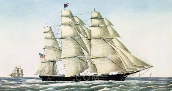 famous painting of Flying Cloud- extreme clipper ship