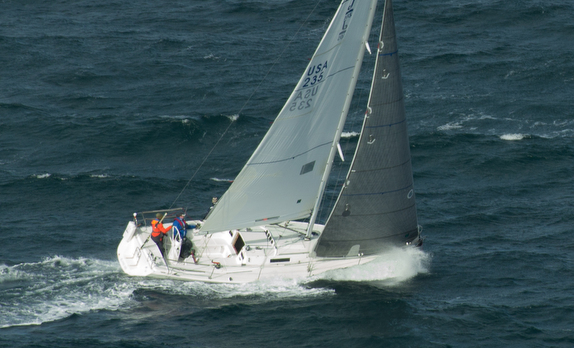J/105 sailing upwind offshore doublehanded