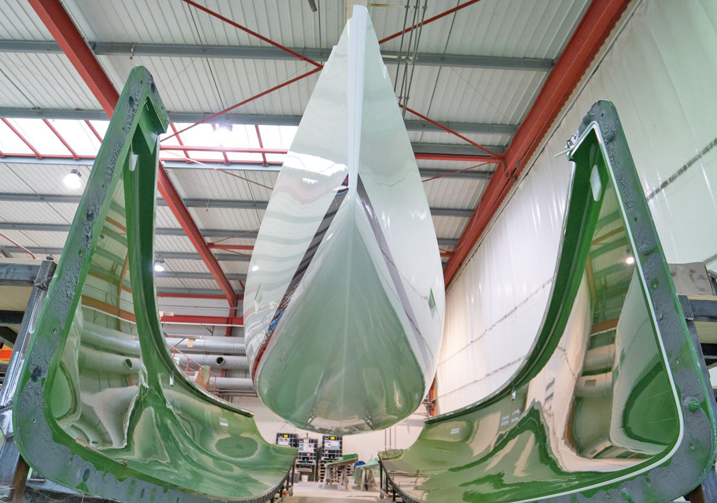 "J/45 hull ""hatched"" from molds"