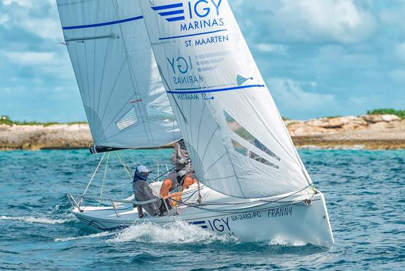 J/70 IGY Marinas sailing on Simpson Bay, St Maarten island