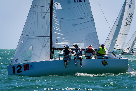 J/70 sailing Bacardi Invitational off Miami on Biscayne Bay.